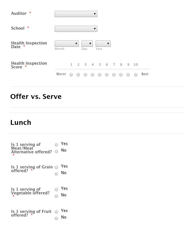 Menu Compliance Audit Form