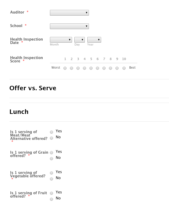 Menu Compliance Audit Form