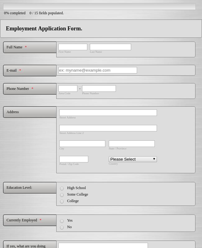 Sales Person Job Application Form