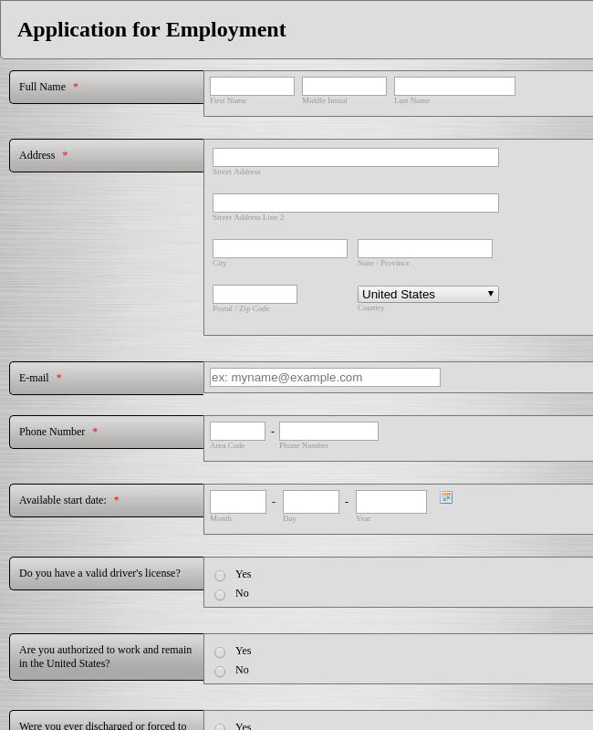 City Hall Job Application Form