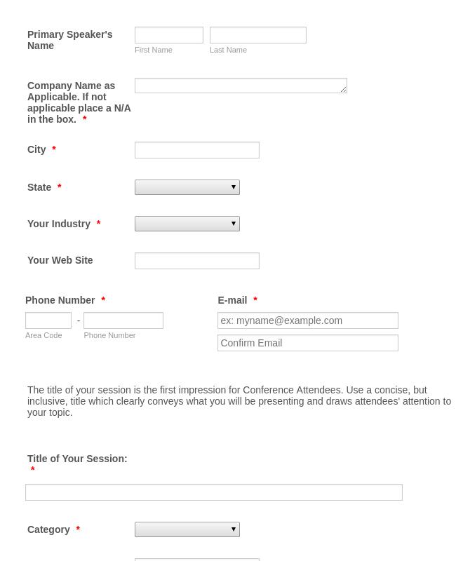 Conference Speaker Application form