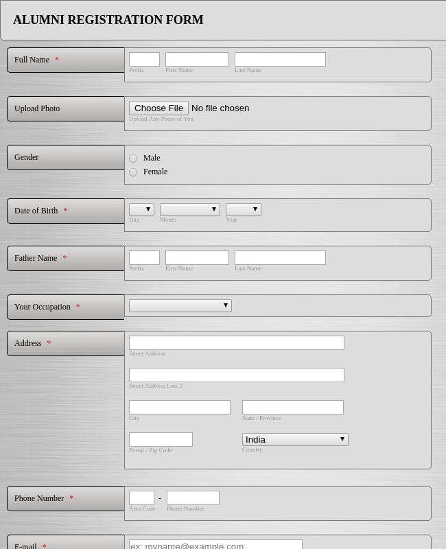 Alumni Regisration Form