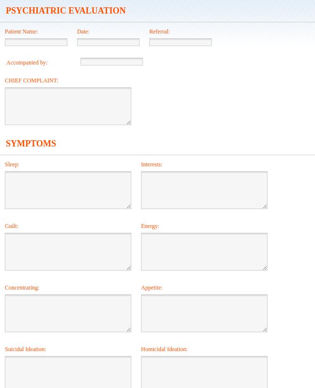 Psychiatric Evaluation Form