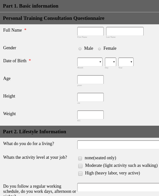 Personal Training Application Form Template Jotform