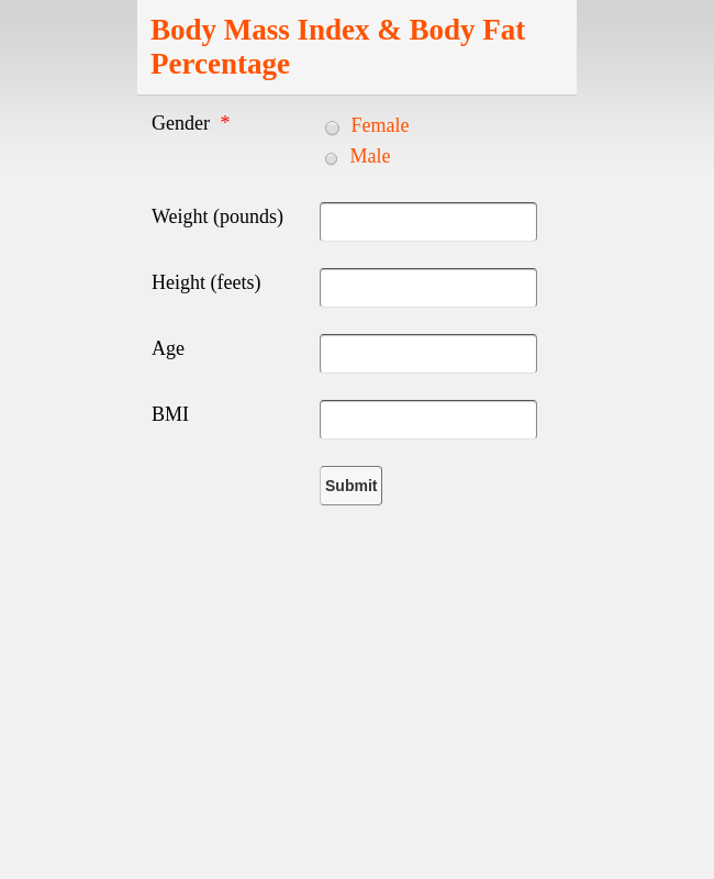 Calculate Body Mass Index and Body Fat Percentage