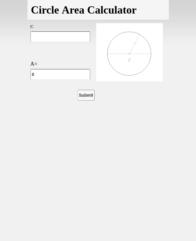 Circle Area Calculator 2