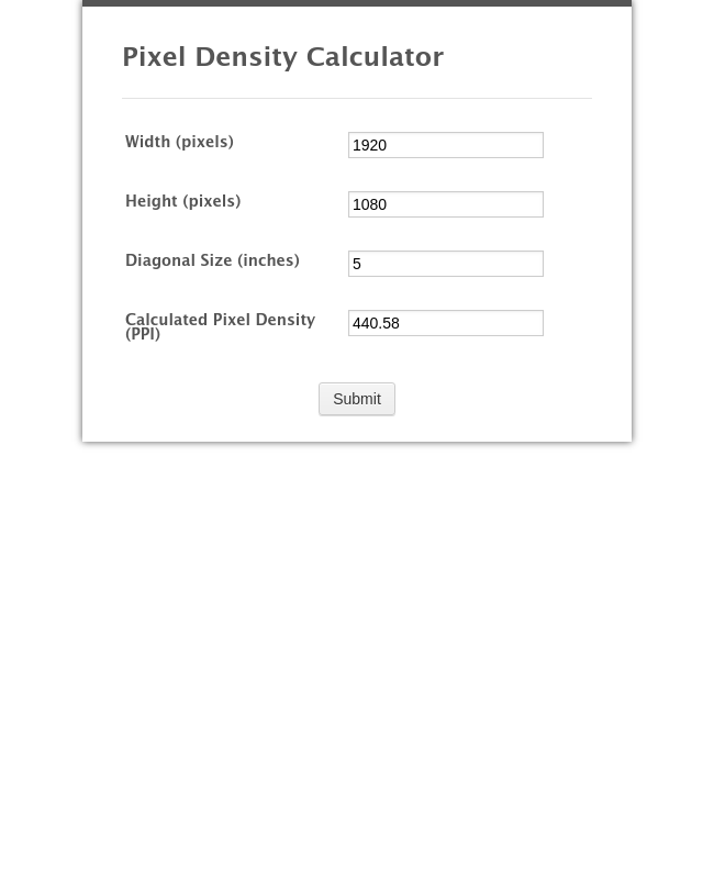 Pixel Density Calculator Ppi Calculator