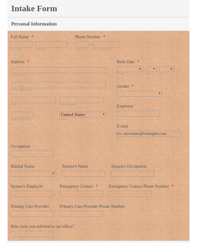 Intake Form for Care Providers
