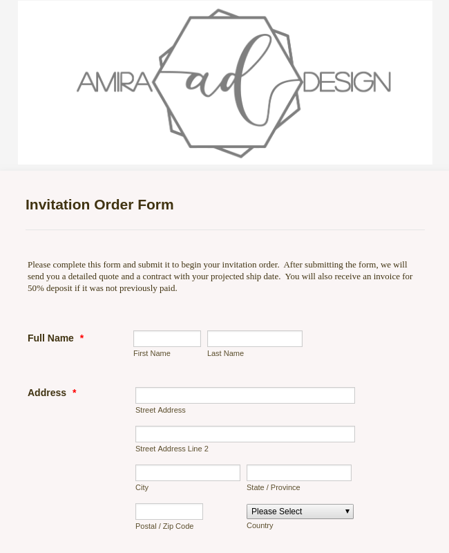Design Wedding Invitation Order Form Template | JotForm