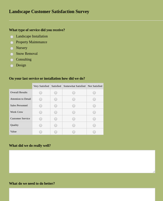 Landscape Customer Satisfaction Survey