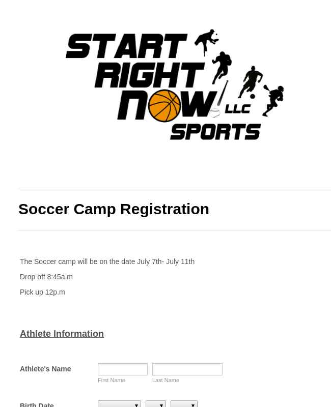 Soccer Camp Registration Form