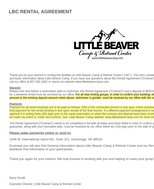 Little Beaver Camp