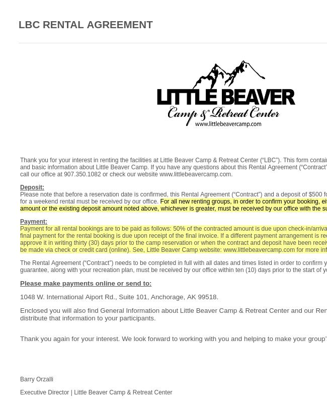 Little Beaver Camp