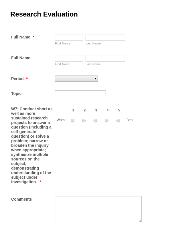 Research Evaluation Form
