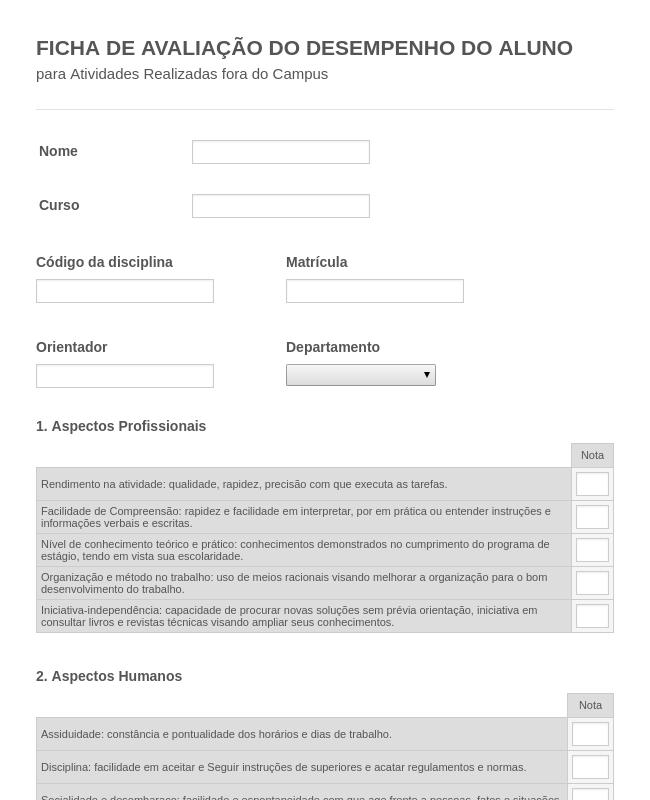 FICHA DE AVALIAÇÃO DO DESEMPENHO DO ALUNO