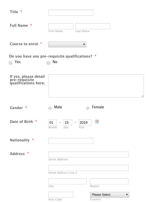 Enrolment Form Ptq