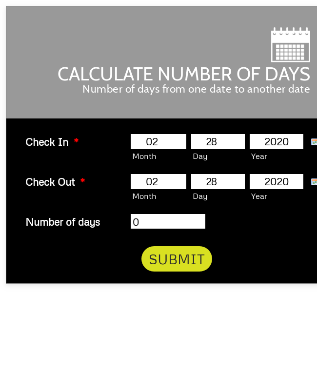 Calculate Number Of Days Black And Responsive
