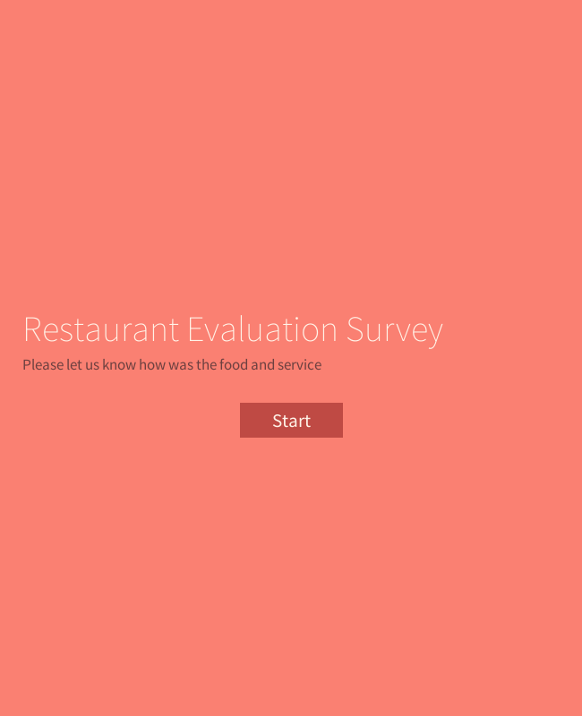 Single Page Restaurant Evaluation Survey