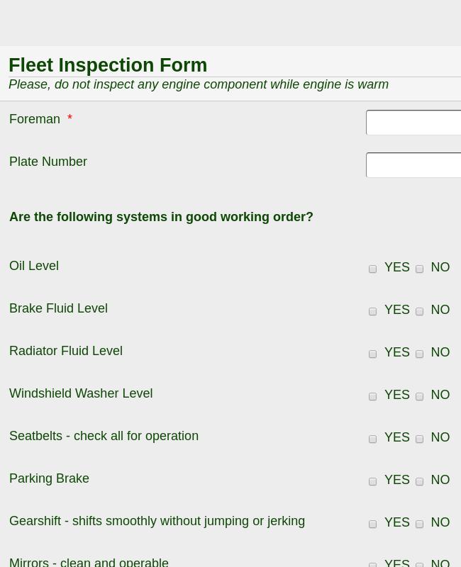 Fleet Inspection Form