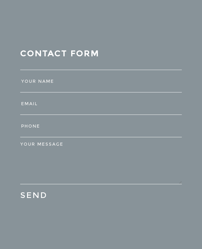 Cool and Minimal Placeholder Style Contact Form