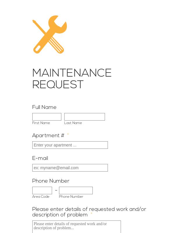 Responsive Maintenance  Request Form