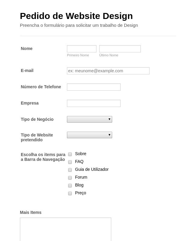 Formulário de Pedido de Webdesign