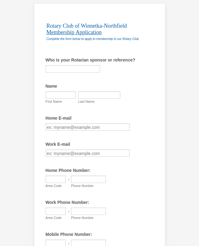 Rotary Club Membership Application Form