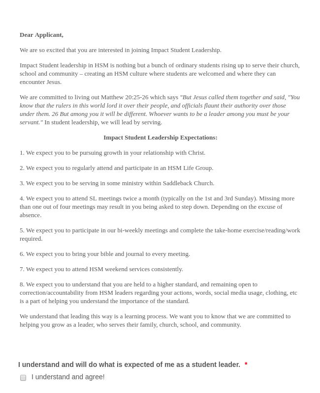 Student Leadership Application Form