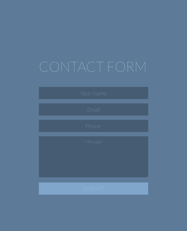 Minimal Contact Form with Cool Colors
