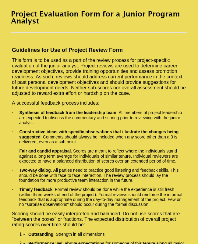 Junior Program Analyst Project Review Form