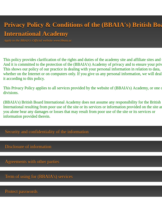 Privacy Policy and Conditions agreement