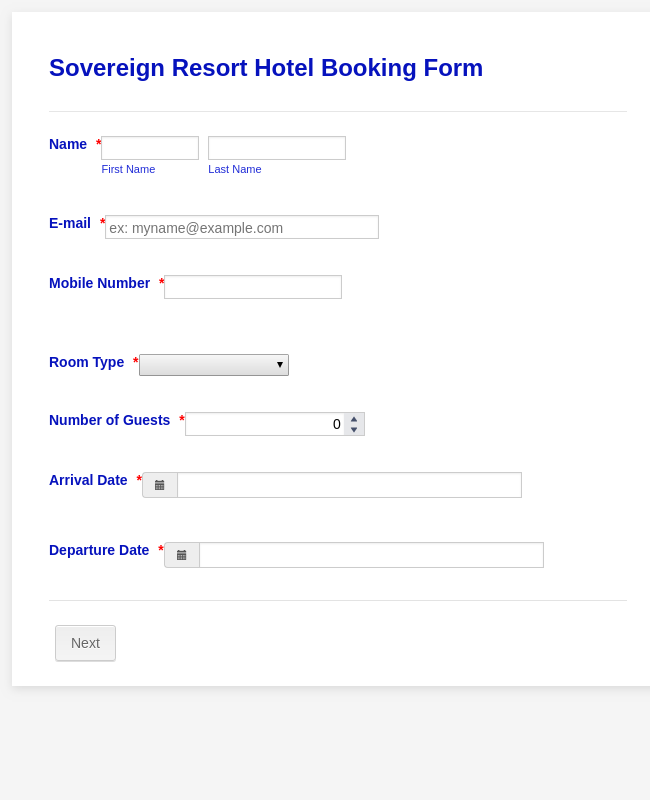 Booking Request Form