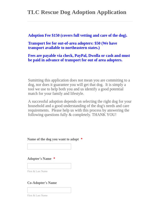 Dog Adoption Application