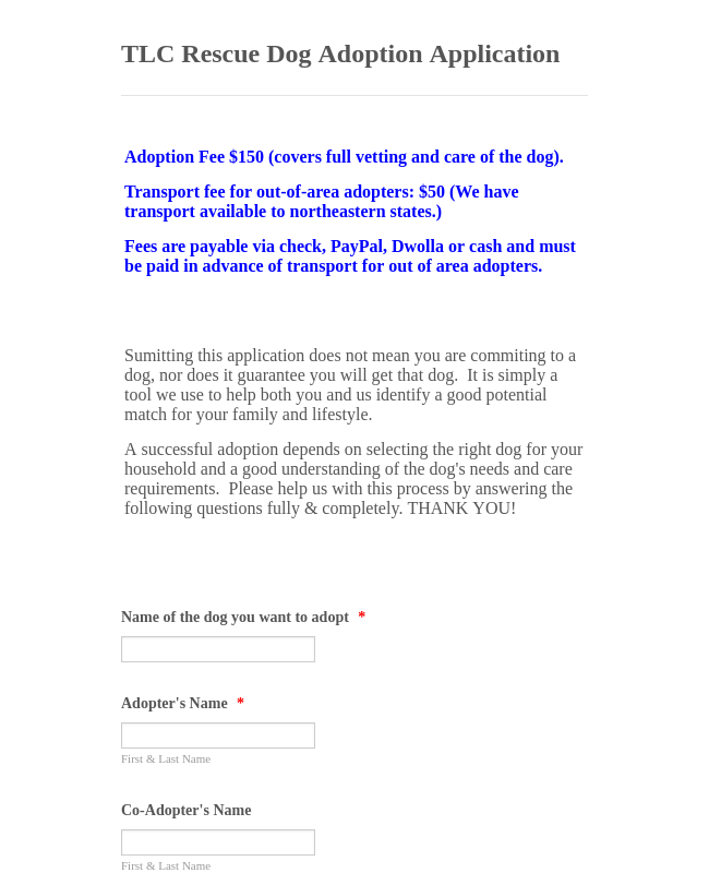 Dog Adoption Application