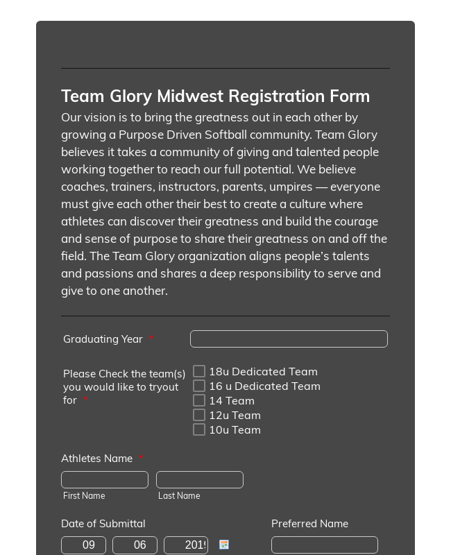 Sports Organization Online Registration Form