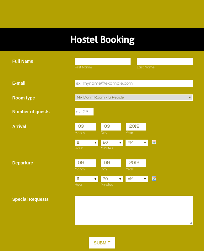 Hostel Booking Form - Light Olive and Responsive