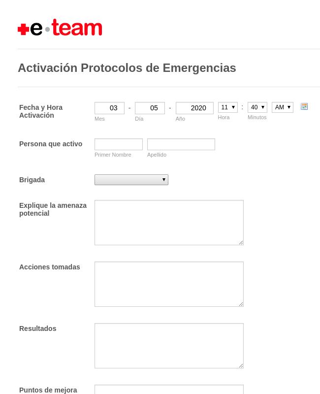 Activación Plan de Emergencia