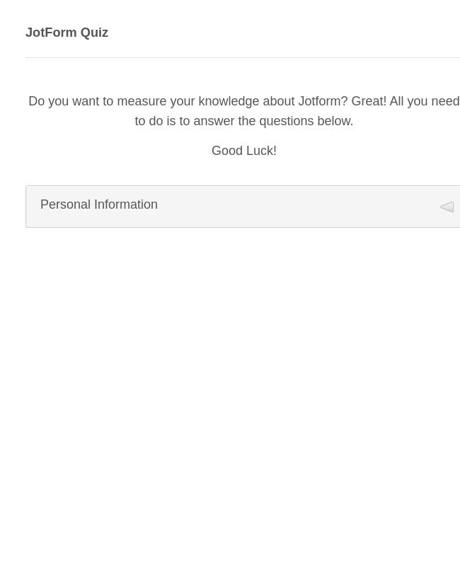 JotForm Quiz