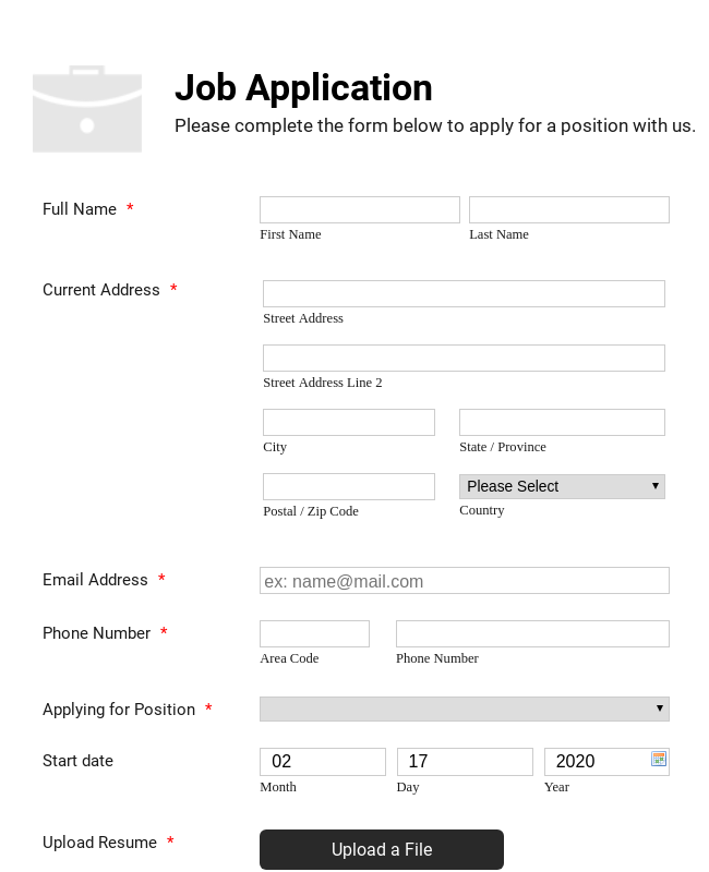 Simple Job Application Form - White and Responsive