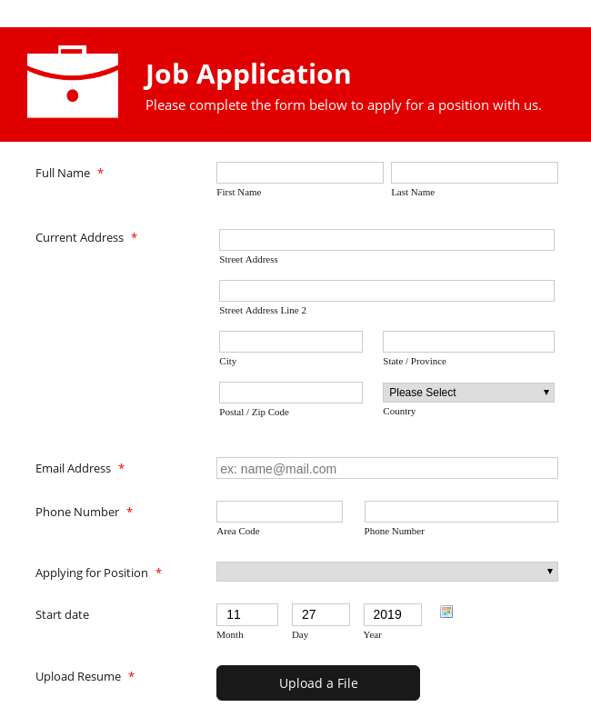 Simple Job Application Form - Red and Responsive