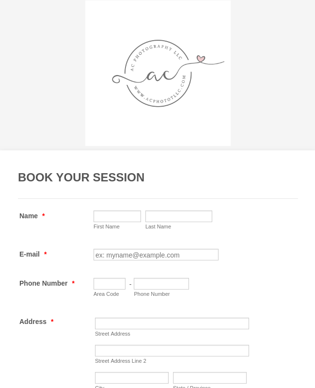 Photography Session Booking Form Template | JotForm