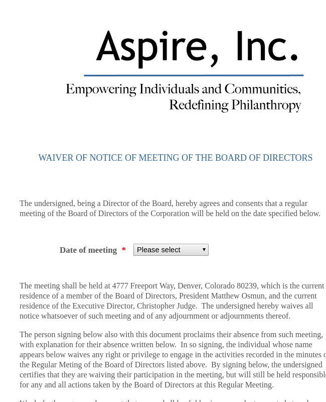 Waiver Of Notice Of Meeting Of The Board Of Directors