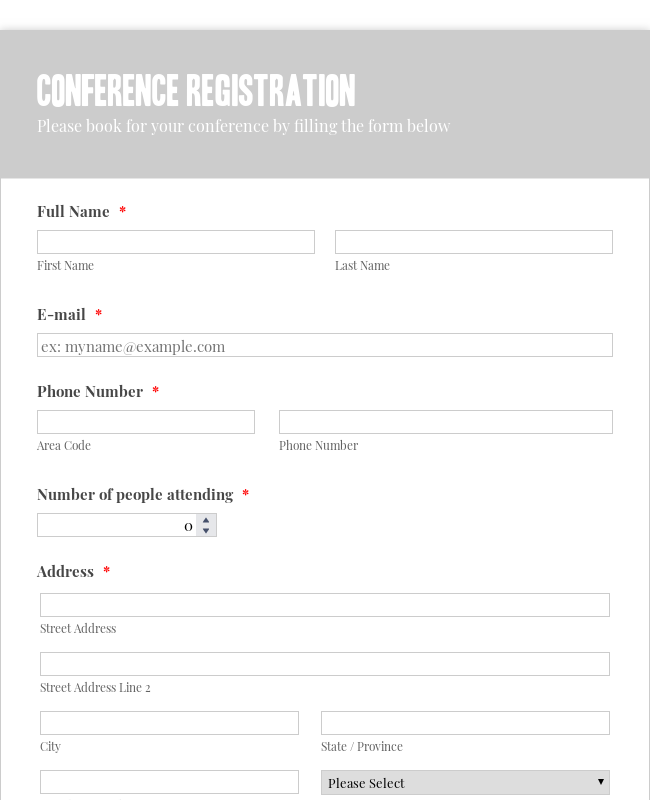 Conference Registration Form - White Gray Theme
