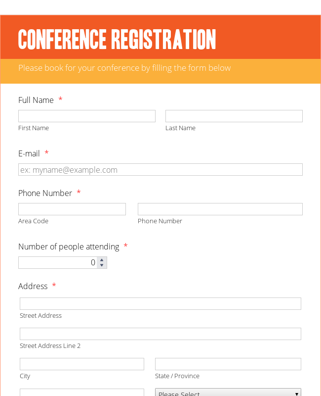 Conference Registration Form   Orange Theme