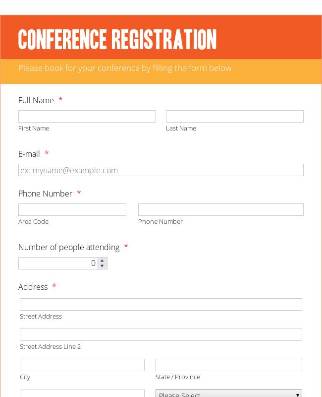 Conference Registration Form   Orange Theme