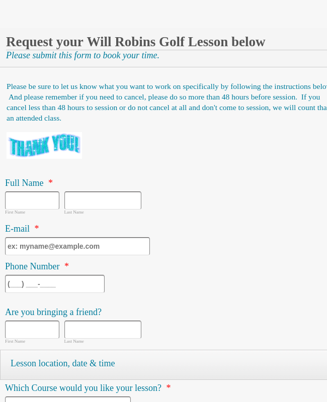 Golf Lessons Request Form
