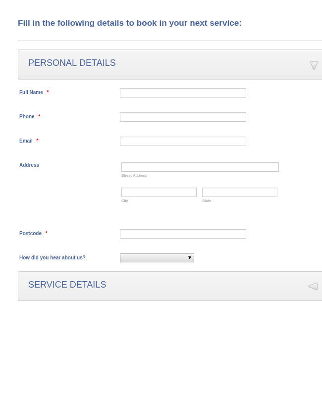 Book in a Vehicle Service Form