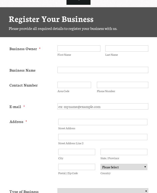 Responsive Business Registration Form