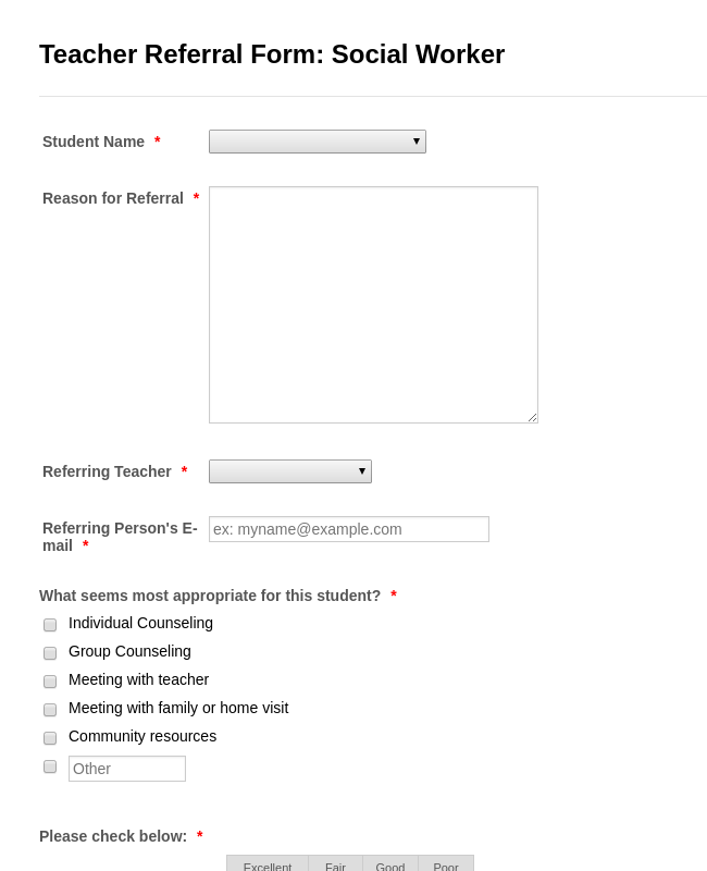 Teacher Referral Form: Social Worker