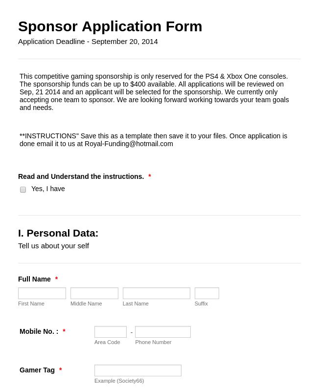 Gaming Sponsorship Application Form